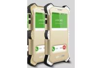 Противоударный усиленный ударопрочный фирменный чехол-бампер на металлической основе для Samsung Galaxy S6 SM-G920F с кожаной накладкой с окошком для входящих вызовов и свайпом  золотого цвета