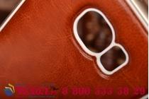 Фирменная роскошная элитная премиальная задняя панель-крышка на металлической основе обтянутая импортной кожей для Samsung Galaxy S6 королевский коричневый