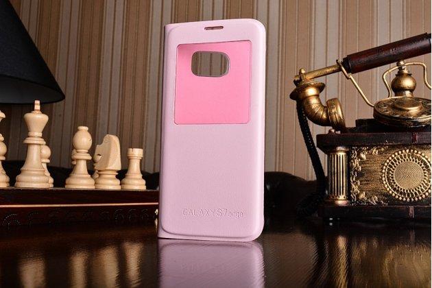 Фирменный оригинальный чехол-книжка для Samsung Galaxy S7 edge G9350/G935 5.5 цвет розовое золото кожаный с окошком для входящих вызовов