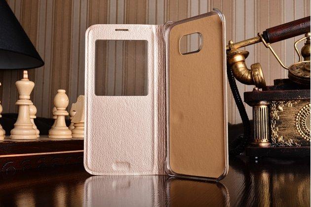 Фирменный оригинальный чехол-книжка для Samsung Galaxy S7 edge G9350/G935 5.5 золотой кожаный с окошком для входящих вызовов