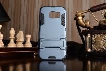 """Противоударный усиленный ударопрочный фирменный чехол-бампер-пенал для Samsung Galaxy S7 edge G9350/G935 5.5""""  синий"""