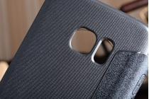 Фирменный чехол-книжка для для Samsung Galaxy S7 edge G9350/G935 5.5 черный с окошком для входящих вызовов водоотталкивающий