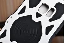 """Противоударный металлический чехол-бампер из цельного куска металла с усиленной защитой углов и необычным экстремальным дизайном с функцией беспроводной зарядки  для  Samsung Galaxy S7 edge G9350/G935/S7 edge Injustice Edition 5.5"""" серебряного цвета"""