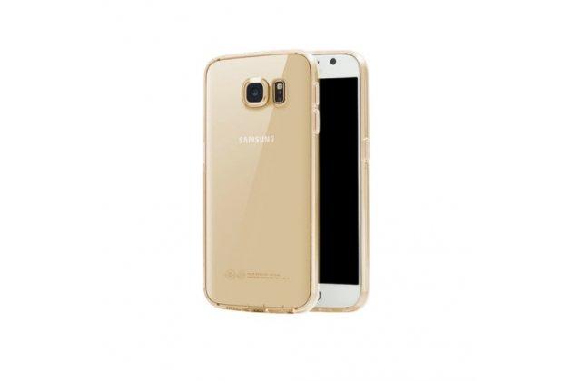 """Фирменная ультра-тонкая полимерная из мягкого качественного силикона задняя панель-чехол-накладка для Samsung Galaxy S7 edge G9350/G935 5.5"""" прозрачная золотая с заглушками"""