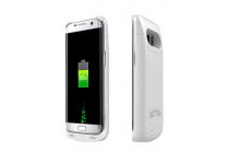 """Чехол-бампер со встроенной усиленной мощной батарей-аккумулятором большой повышенной расширенной ёмкости 8000mAh для Samsung Galaxy S7 edge G9350/G935/S7 edge Injustice Edition 5.5"""" серебристый + гарантия"""