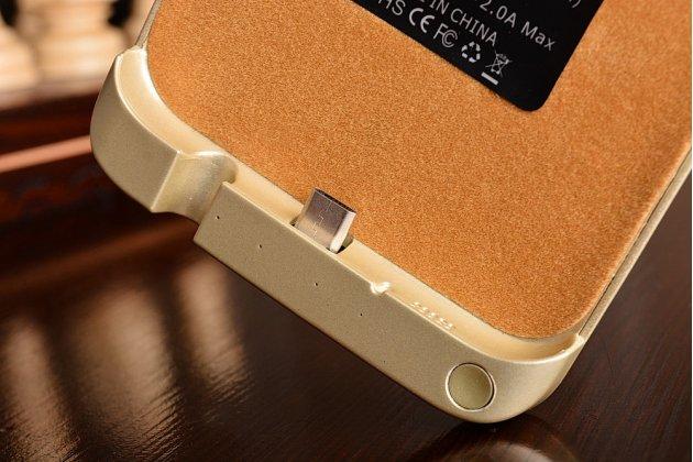 """Чехол-бампер со встроенной усиленной мощной батарей-аккумулятором большой повышенной расширенной ёмкости 8000mAh для Samsung Galaxy S7 edge G9350/G935/S7 edge Injustice Edition 5.5"""" золотой + гарантия"""