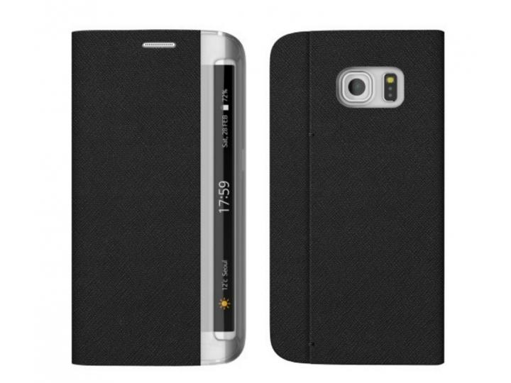 Фирменный роскошный эксклюзивный чехол черный с боковым окном для Samsung Galaxy S7 edge G9350/G935 5.5 водоот..