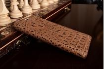 """Фирменный роскошный эксклюзивный чехол с объёмным 3D изображением рельефа кожи крокодила коричневый для Samsung Galaxy S7 edge G9350/G935 5.5"""". Только в нашем магазине. Количество ограничено"""