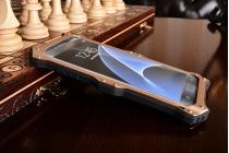"""Противоударный металлический чехол-бампер из цельного куска металла с усиленной защитой углов и необычным экстремальным дизайном с функцией беспроводной зарядки длям Samsung Galaxy S7 edge G9350/G935/S7 edge Injustice Edition 5.5"""" золотого цвета"""