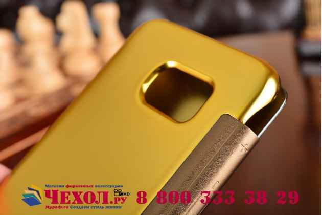 "Чехол-книжка с дизайном ""Clear View Cover""  для Samsung Galaxy S7 edge G9350/G935 5.5 золотистый"