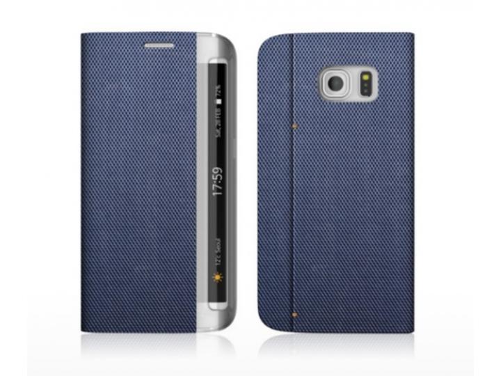 Фирменный роскошный эксклюзивный чехол-книжка синий для Samsung Galaxy S7 edge G9350/G935 5.5 водоотталкивающи..