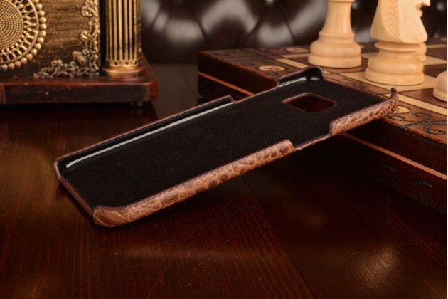 """Фирменный роскошный эксклюзивный накладка с объёмным 3D изображением рельефа кожи крокодила коричневый для Samsung Galaxy S7 edge G9350/G935 5.5"""". Только в нашем магазине. Количество ограничено"""