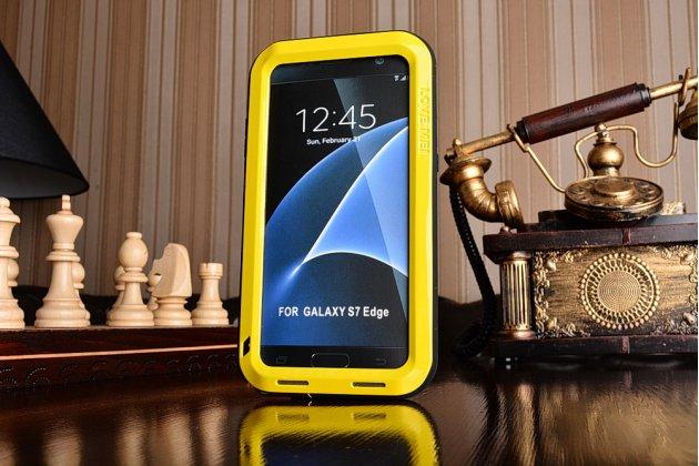 """Неубиваемый водостойкий противоударный водонепроницаемый грязестойкий влагозащитный ударопрочный фирменный чехол-бампер для Samsung Galaxy S7 edge G9350/G935/S7 edge Injustice Edition 5.5"""" цельно-металлический желтый"""