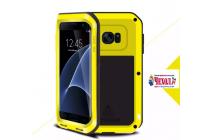 """Неубиваемый водостойкий противоударный водонепроницаемый грязестойкий влагозащитный ударопрочный фирменный чехол-бампер для Samsung Galaxy S7 edge G9350/G935/S7 edge Injustice Edition 5.5"""" цельно-металлический со стеклом Gorilla Glass желтый"""