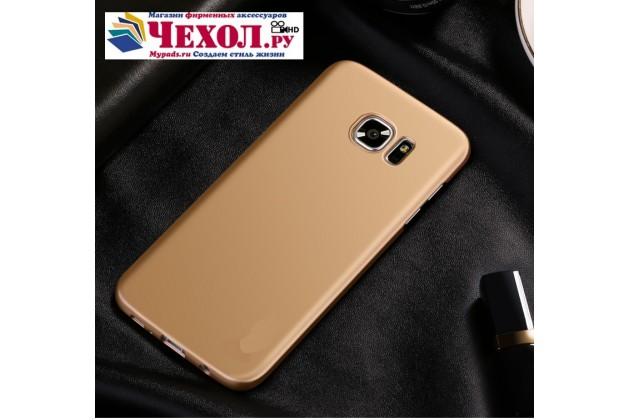 """Фирменная ультра-тонкая пластиковая задняя панель-чехол-накладка для Samsung Galaxy S7 edge G9350/G935/S7 edge Injustice Edition 5.5"""" золотая"""