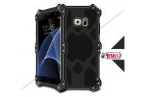 """Противоударный металлический чехол-бампер из цельного куска металла с усиленной защитой углов и необычным экстремальным дизайном с функцией беспроводной зарядки  для  Samsung Galaxy S7 edge G9350/G935/S7 edge Injustice Edition 5.5"""" черного цвета"""