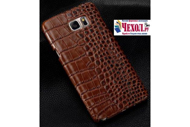 """Фирменная элегантная экзотическая задняя панель-крышка с фактурной отделкой натуральной кожи крокодила кофейного цвета для Samsung Galaxy S7 G930 / G9300 5.1""""  . Только в нашем магазине. Количество ограничено"""