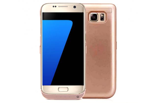 """Чехол-бампер со встроенной усиленной мощной батарей-аккумулятором большой повышенной расширенной ёмкости 6500mAh для Samsung Galaxy S7 G930 / G9300 5.1"""" розовый + гарантия"""