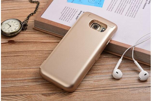 """Чехол-бампер со встроенной усиленной мощной батарей-аккумулятором большой повышенной расширенной ёмкости 6500mAh для Samsung Galaxy S7 G930 / G9300 5.1"""" золотой + гарантия"""