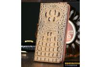 """Фирменный роскошный эксклюзивный чехол с объёмным 3D изображением рельефа кожи крокодила кофейный для Samsung Galaxy S7 G930 / G9300 5.1"""" . Только в нашем магазине. Количество ограничено"""