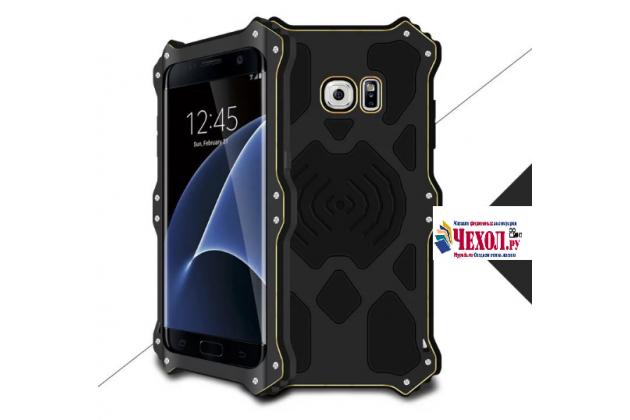 """Противоударный металлический чехол-бампер из цельного куска металла с усиленной защитой углов и необычным экстремальным дизайном с функцией беспроводной зарядки  для Samsung Galaxy S7 G930 / G9300 5.1"""" черного цвета"""