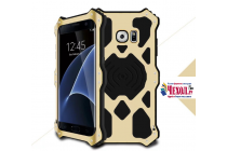 """Противоударный металлический чехол-бампер из цельного куска металла с усиленной защитой углов и необычным экстремальным дизайном с функцией беспроводной зарядки длям Samsung Galaxy S7 G930 / G9300 5.1"""" золотого цвета"""