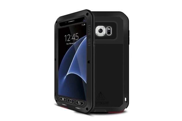 Неубиваемый водостойкий противоударный водонепроницаемый грязестойкий влагозащитный ударопрочный фирменный чехол-бампер для Samsung Galaxy S7 G930 / G9300 5.1 цельно-металлический со стеклом Gorilla Glass