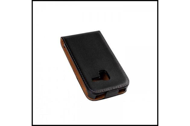 Фирменный вертикальный откидной чехол-флип для Samsung Galaxy Ace Plus GT-S7500 черный кожаный