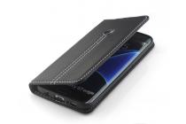 Фирменный премиальный чехол-книжка из качественной импортной кожи с подставкой и визитницей для Samsung Galaxy S8 SM-G9500 черный