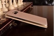 Фирменный оригинальный чехол-книжка для Samsung Galaxy S8 SM-G9500 золотой с окошком для входящих вызовов водоотталкивающий