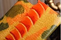 Фирменная роскошная эксклюзивная накладка из натуральной КОЖИ С НОГИ СТРАУСА оранжевая  для Samsung Galaxy S8 SM-G9500. Только в нашем магазине. Количество ограничено