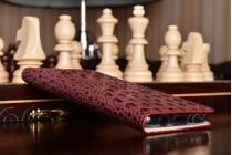 Фирменный роскошный эксклюзивный чехол с объёмным 3D изображением рельефа кожи крокодила цвет красное вино для Samsung Galaxy S8 SM-G9500 . Только в нашем магазине. Количество ограничено