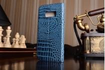 Фирменный роскошный эксклюзивный чехол с объёмным 3D изображением рельефа кожи крокодила синий для Samsung Galaxy S8 SM-G9500 . Только в нашем магазине. Количество ограничено