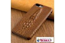 Задняя панель-крышка-накладка для Samsung Galaxy S8 SM-G9500 с объёмным изображением крокодила коричневый