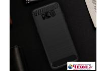 Задняя панель-крышка из тончайшего мягкого силикона для Samsung Galaxy S8 SM-G9500 с матовой отделкой черная