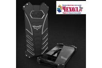 Противоударный металлический чехол-бампер из цельного куска металла с усиленной защитой углов и необычным экстремальным дизайном  для  Samsung Galaxy S8 SM-G9500 черного цвета