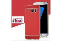 Фирменная премиальная элитная крышка-накладка на Samsung Galaxy S8 SM-G9500 красная из качественного силикона с дизайном под кожу
