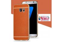 Фирменная премиальная элитная крышка-накладка на Samsung Galaxy S8 SM-G9500 коричневая из качественного силикона с дизайном под кожу