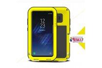 Неубиваемый водостойкий противоударный водонепроницаемый грязестойкий влагозащитный ударопрочный фирменный чехол-бампер для Samsung Galaxy S8 SM-G9500 цельно-металлический желтый
