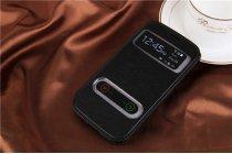 Фирменный оригинальный чехол-книжка для Samsung Galaxy Grand GT-i9082 черный кожаный с окошком и свайпом для входящих вызовов