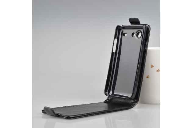 Фирменный оригинальный вертикальный откидной чехол-флип для Samsung Galaxy S Advance GT-I9070 черный кожаный