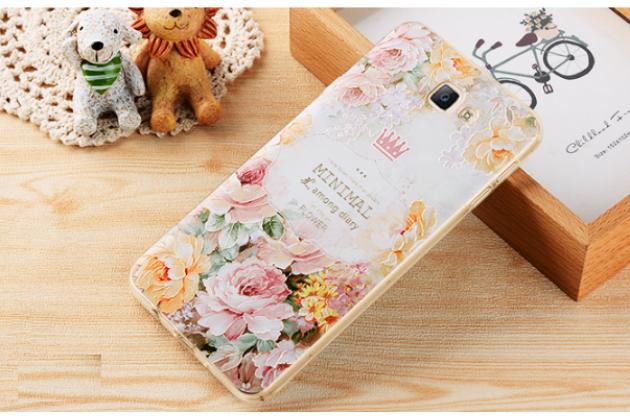 Фирменная уникальная задняя панель-крышка-накладка из тончайшего силикона для Samsung Galaxy J5 Prime/ Samsung Galaxy On5 2016 с объёмным 3D рисунком тематика Винтажные розы