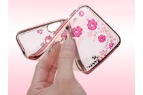 Фирменная уникальная задняя панель-крышка-накладка из тончайшего силикона со стразами для Samsung Galaxy J5 Prime SM-G570F DS 5.0/ Samsung Galaxy On5 2016 с объёмным 3D рисунком тематика Сакура розовая