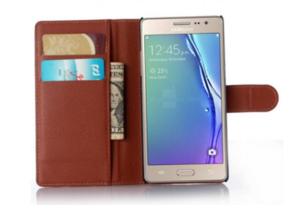 """Фирменный чехол-книжка из качественной импортной кожи с подставкой застёжкой и визитницей для Samsung Galaxy Z3 5.0"""" коричневый"""