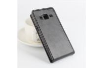 """Фирменный оригинальный вертикальный откидной чехол-флип для Samsung Galaxy Z3 5.0"""" черный из натуральной кожи """"Prestige"""" Италия"""