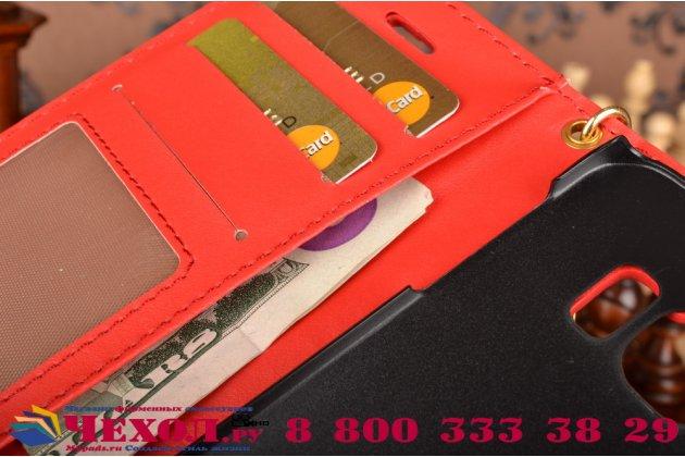 Фирменный чехол-книжка с подставкой для Samsung Galaxy S6 Edge лаковая кожа крокодила алый огненный красный