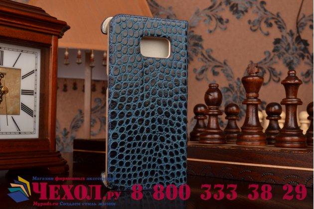 Фирменный роскошный эксклюзивный чехол с фактурной прошивкой рельефа кожи крокодила синий для Samsung Galaxy S6 Edge SM-G925F . Только в нашем магазине. Количество ограничено