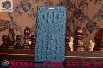 Фирменный роскошный эксклюзивный чехол с объёмным 3D изображением рельефа кожи крокодила синий для Samsung Galaxy S6 Edge SM-G925F. Только в нашем магазине. Количество ограничено