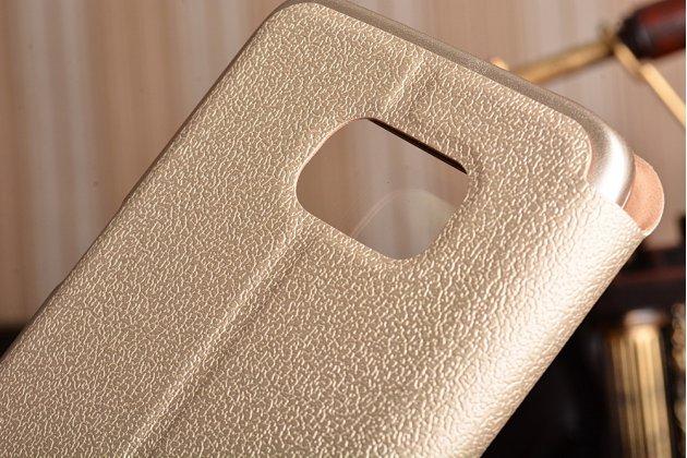 """Фирменный чехол-книжка для Samsung Galaxy S7 edge G9350/G935 5.5""""   золотой с окошком для входящих вызовов и свайпом водоотталкивающий"""