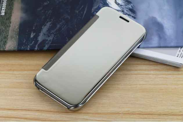 "Чехол-книжка с дизайном ""Clear View Cover""  для Samsung Galaxy S7 edge G9350/G935 5.5 серебристый"